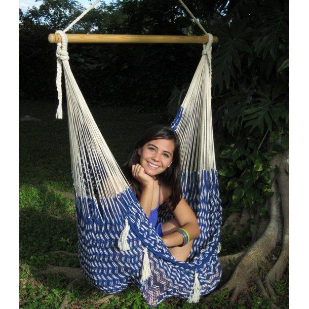 Hängstol, naturvit och blå av nät